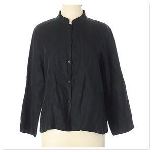 Eileen Fisher black dress shirt button down shirt